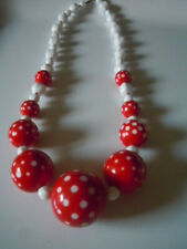 Vintage plastic red and white polka dot bead necklace