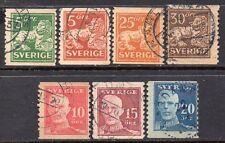 Svezia: 7-MISCELA-RE LEONE 1920's-36 & BOBINA USATO problemi GUSTAF (ridotto POST)