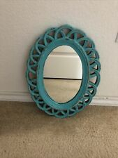 Turquoise Oblong Mirror 10 1/2 x 14