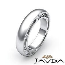Mens Ring Eternity Wedding Band Round Bezel Set Diamond 18k White Gold 0.25Ct