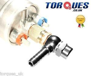 Bosch 044 External Fuel Pump 15mm Input / 8mm Output Adapters Banjo/Cap - BLACK
