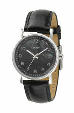 NEW-DKNY BLACK LEATHER & MOTHER OF PEARL DIAL,SILVER WATCH-NY4755