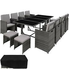 Ensemble Salon de Jardin Poly Rotin 8x Chaise Table Tabouret Résine Tressée Gris