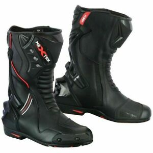 Men Motorcycle Racing Leather Boots Long Ankle Motorbike Riding Protective Shoes