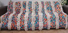 Vintage Wedding Blanket Moroccan Handira Handmade Berber Sequins Throw Rug 0482
