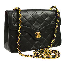 Auth CHANEL Quilted CC Single Chain Shoulder Bag Black Leather Vintage JT05820