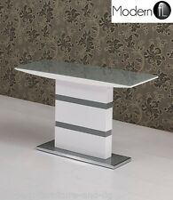 MODERN GREY AND WHITE HIGH GLOSS CONSOLE TABLE, WHITE & GREY GLOSS CONSOLE TABLE