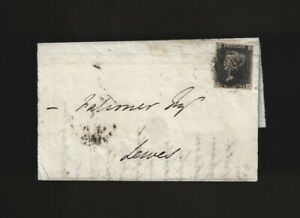 "Great Britain ""Penny Black"" on 1841 Folded Letter Sheet - Sides Appear Cut Off"