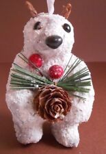 Xmas Ornament Paper-Mache White Bear Holding Pine cone and Berries