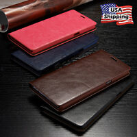 THIN Genuine Leather Wallet Card Case Cover For Galaxy Note 10/9 S10/S9/S8 Plus