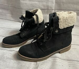 Tommy Hilfiger Faux Fur Lined Boots Lace Up Black Size 7.5