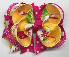 """Hot Pink Yellow Chick Easter Eggs Flowers Polka Dots Hair Bow 4 1/4"""""""