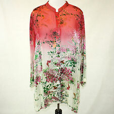 NEW NWT Citron Clothing Coral Jasmine Bloom Butterflies Button Down Blouse 3X
