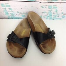Birkenstock Madrid Black Leather Slip On Sandals Womens Sz 6 Mens 4 EUR 37 Shoes