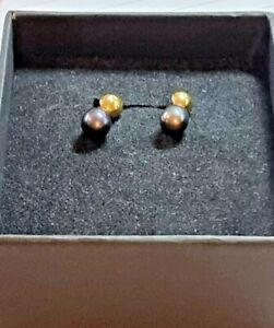 9K Gold Genuine Tahitian Pearl Earrings! Beautiful. Fully hallmarked. No Reserve