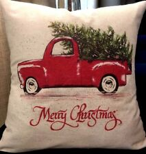 Christmas Pillows, modern farmhouse Red Truck with Christmas Tree 15x15