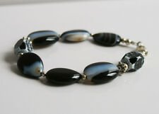 Handcrafted Black White Agate Genuine Semi-precious Gemstone Bracelet Gift Smart