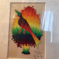 Ay-O Silkscreen Wood and Bird Autographed Art Rare Used