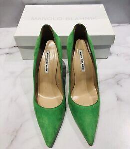 Manolo Blahnik BB Green Suede Pumps Heels