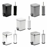 Bathroom Pedal Rubbish Waste Bin and Toilet Brush Holder Set - 3 Litre