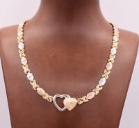 Hugs & Kisses Chain Necklace 14K Yellow White Rose Gold Clad 925 Silver XOXO
