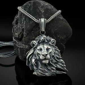 Wild Lion Men Necklace, Lion Head Pendant, Mens Lion Gift Necklace, African Gift