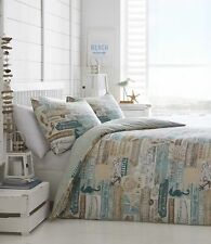 Nautical Theme Bedroom DRIFTWOOD Blue Double Duvet Set Seahorse Sea Shells Beach