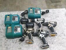 Makita Lot Of Tools (3) Drills (1) Impact (3) Chargers (2) Batteries Free Shipp