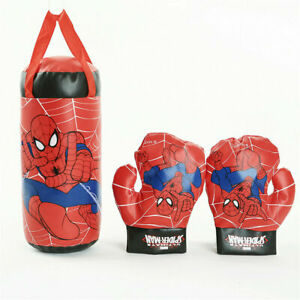 Kids Boys Marvel Avengers Spiderman Boxing Bag Gloves Punching Set Toy Gift Game