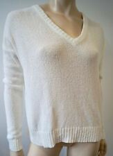 FEEL THE PIECE TERRE JACOBS  Winter White V Neck Texture Knit Jumper Sweater Top