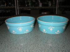 """2 Pet Bowls Small Petrageous Paw Print Designs Baby Blue Stoneware 4 3/4"""" D"""
