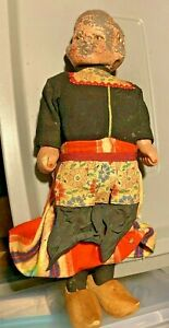 Antique Unmarked  Metal/Tin Head Wood Doll Dutch Clogs Wood hands