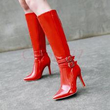CHIC Ladies Combat Knee slim High heels Boots Buckle zip patent Leather Shoes uk