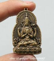 "2.2/""Curio Nepal Tibetan Buddhism Bronze Nine Palace Gossip 12 Zodiac Pendant九宫八卦"