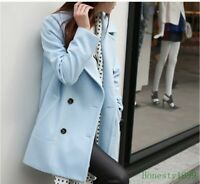 Fashion Womens Wool Blend Double Breasted Long Jacket Parka Trench Coats Outwear