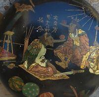 Couvercle en carton bouilli a decor d'une scene chinoise,XIXeme.