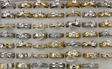 Mixed Lots 25pcs stainless steel Rhinestone Cz Wedding Silver/Gold Top Rings