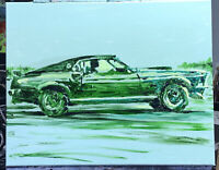 """John Wick Mustang"", #michaelscottwoodcock  Art Original Oil Painting Canvas"