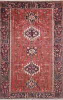 Vintage Tribal Traditional Geometric Area Rug Vegetable Dye Hand-knotted 5x8 RED