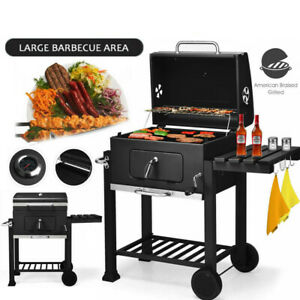 Deluxe Large Portable Grill Charcoal BBQ Barbeque Trolley 60x45cm Cooking Area