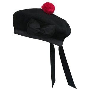 BALMORAL SCOTTISH BLACK 100% WOOL HAT CAP / Highland Balmoral Hat