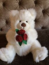 """Russ Berrie Mistie Teddy Bear, White & Sparkly, Holding Flowers, 9"""" Seated, VGC"""