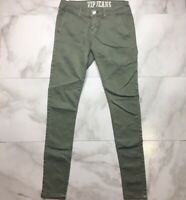 VIPJeans KHAKI GREEN SKINNY ANKLE JEANS Junior's Size 3/4 Olive Green Jeans EUC