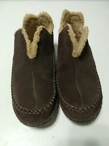 Sorel Manawan Moccasin Slippers Brown Suede Men's 11 Indoor / Outdoor Lined Shoe