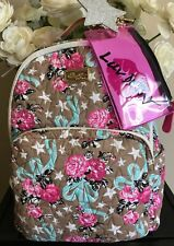 NWT Betsey Johnson Quilted Large Backpack Taupe/Turquoise LBTEC MSRP $88