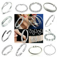 Women Charm Jewelry Bangle Chain Bracelet 925 Sterling Solid Silver Crystal Cuff