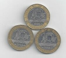 3 DIFFERENT BI-METAL 10 FRANC COINS from FRANCE (1989, 1990 & 1991)