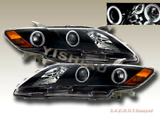 2007-2009 Toyota Camry Projector Headlights Black Dual Halo CCFL NEW