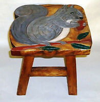 FOOTSTOOLS - SQUIRREL WOODEN FOOTSTOOL - SQUIRREL FOOT STOOL