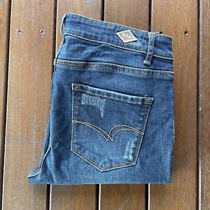 Lee Cooper Size 12 Distressed Blue Denim Jeans Girlfriend Womens Casual